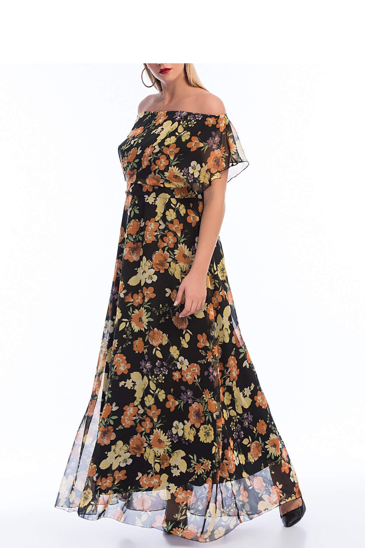 Büyük Beden Şifon Uzun Elbise KL7881d