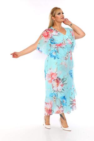 Angelino Butik - Büyük Beden Şifon Uzun Elbise KL8020ye (1)