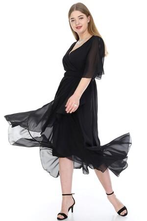 Angelino Butik - Büyük Beden Şifon Uzun Elbise KL8020si (1)