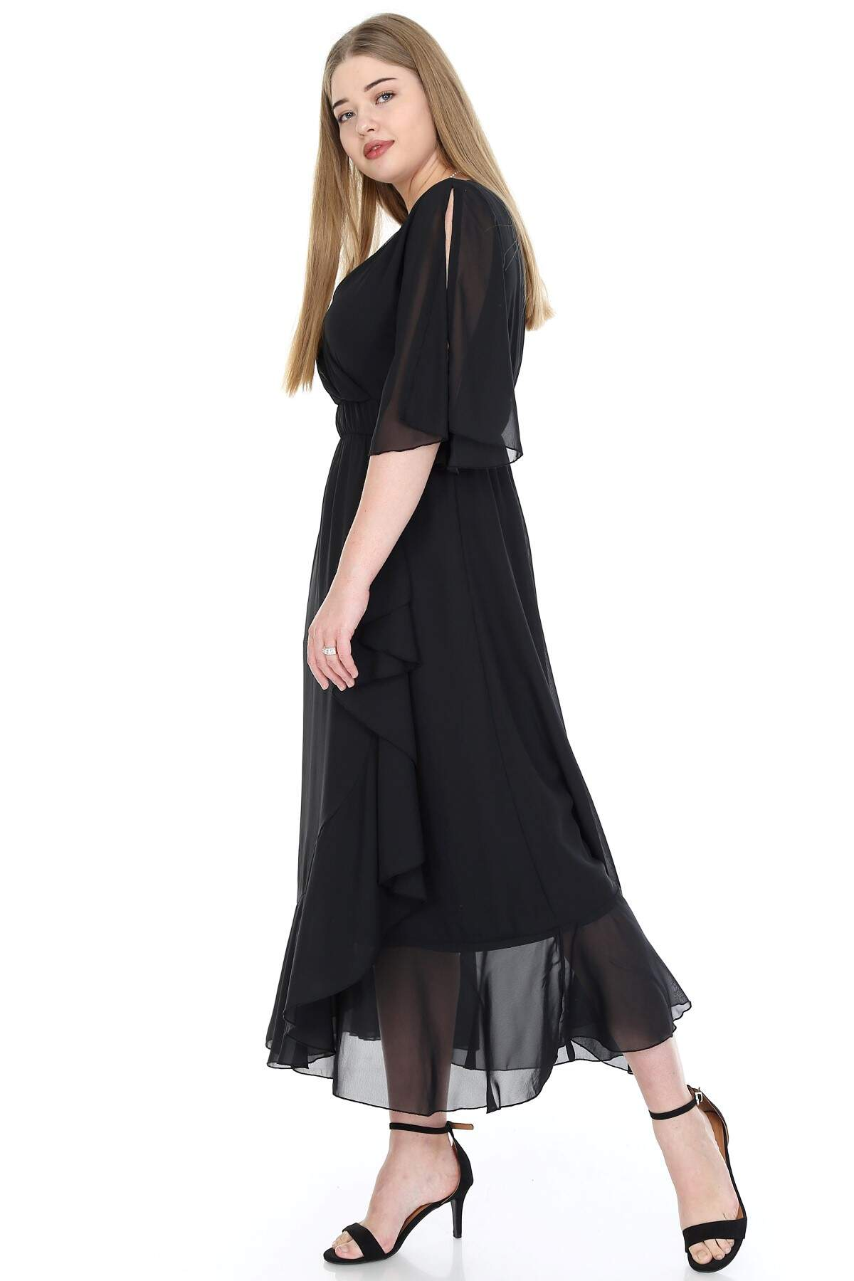 Büyük Beden Şifon Uzun Elbise KL8020si