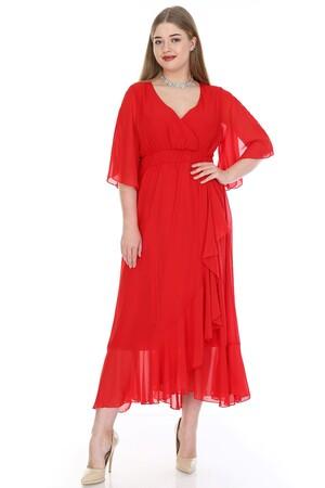 Angelino Butik - Büyük Beden Şifon Uzun Elbise KL8020kı (1)