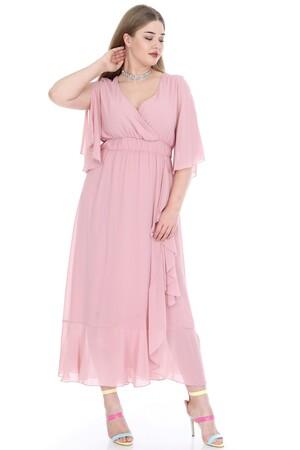 Angelino Butik - Büyük Beden Şifon Uzun Elbise KL8020pu (1)