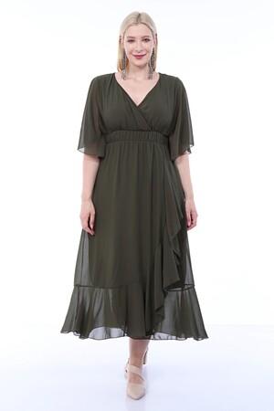 Angelino Butik - Büyük Beden Şifon Uzun Fırfırlı Elbise 8020 haki (1)