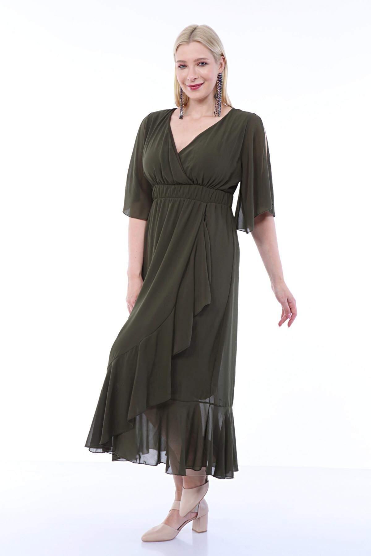 Büyük Beden Şifon Uzun Fırfırlı Elbise 8020 haki