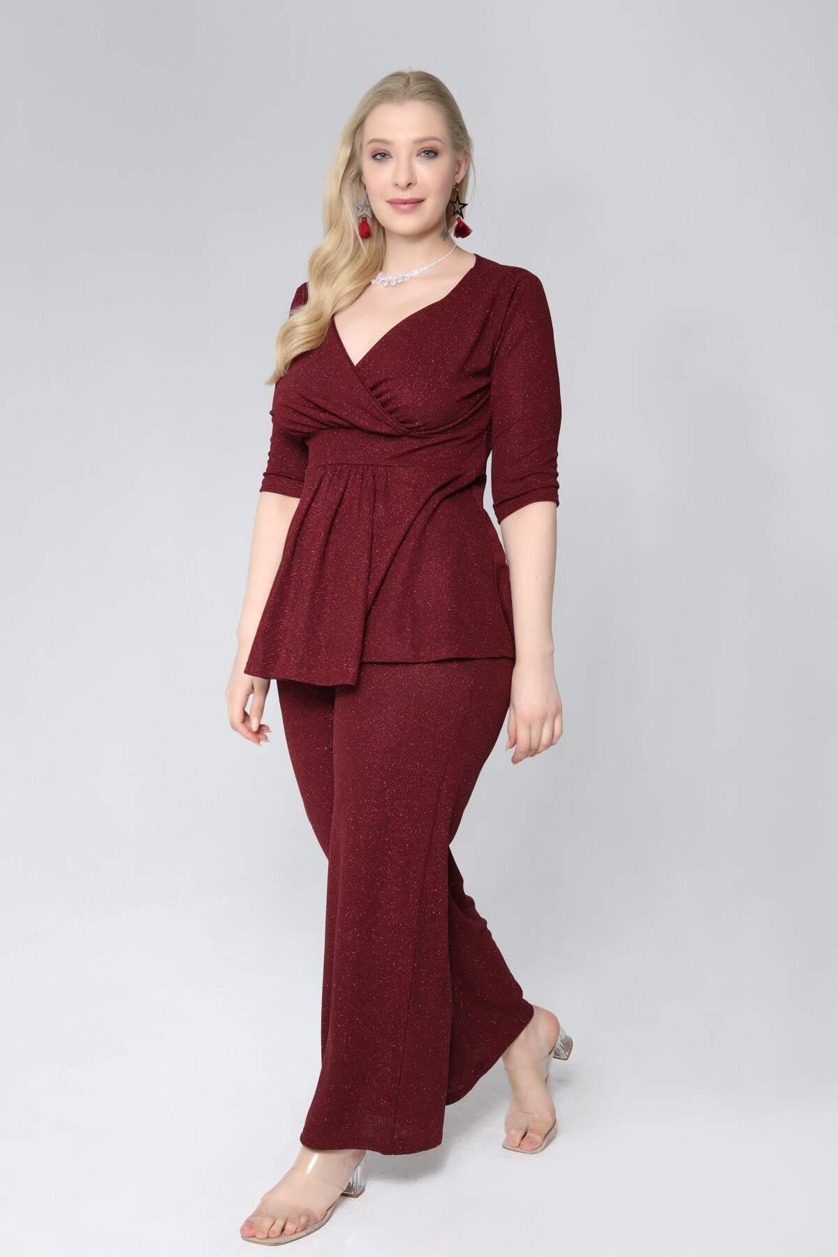 Büyük Beden Simli Abiye Pantolon Bluz 2li Takım 9484