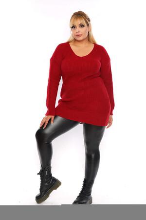 Angelino Fashion - Büyük Beden Sırt Omuz Bağcık Detay Uzun Triko Kazak ST689 Bordo (1)