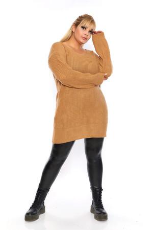 Angelino Fashion - Büyük Beden Sırt Omuz Bağcık Detay Uzun Triko Kazak ST689 Hardal (1)