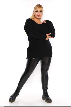 Angelino Fashion - Büyük Beden Sırt Omuz Bağcık Detay Uzun Triko Kazak ST689 Siyah (1)