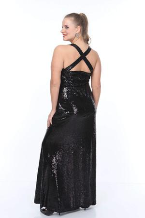 Angelino Butik - Büyük Beden Sırtı Çapraz Detay Payet Elbise NV4007 (1)