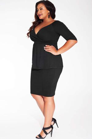 Mangolino Dress - Büyük Beden Siyah Bluz MDBS8004 (1)