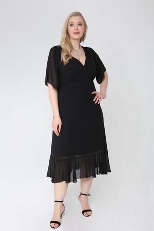 Angelino Butik - Büyük Beden Siyah Şifon Altı Pileli Kruvaze Yaka Elbise KL7713 (1)