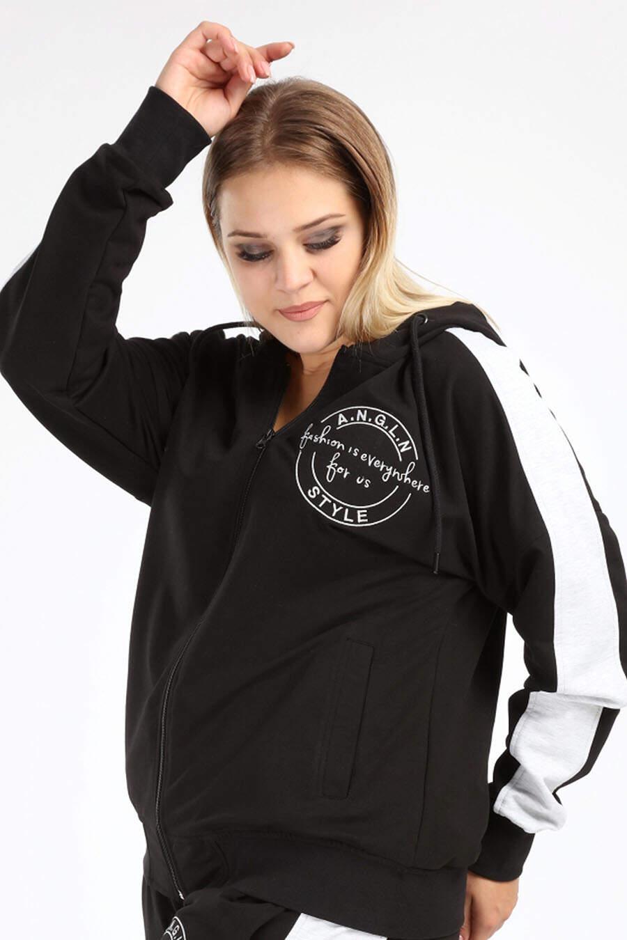 Büyük Beden Spor Giyim Fermuarlı Kapüşonlu Sweatshirt 2527-u