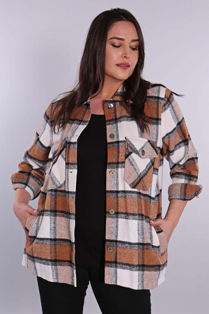 - Büyük Beden Taba Oduncu Ekose Desenli Ceket (1)