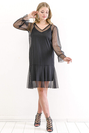 Angelino Butik - Büyük Beden Tül Detay Kısa Abiye Elbise PNR4633 Siyah (1)