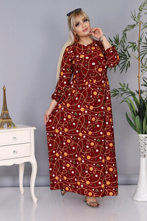 Angelino Fashion - Buyuk Beden Tesettür Örme Krep Uzun Elbise AF8001 Bordo (1)