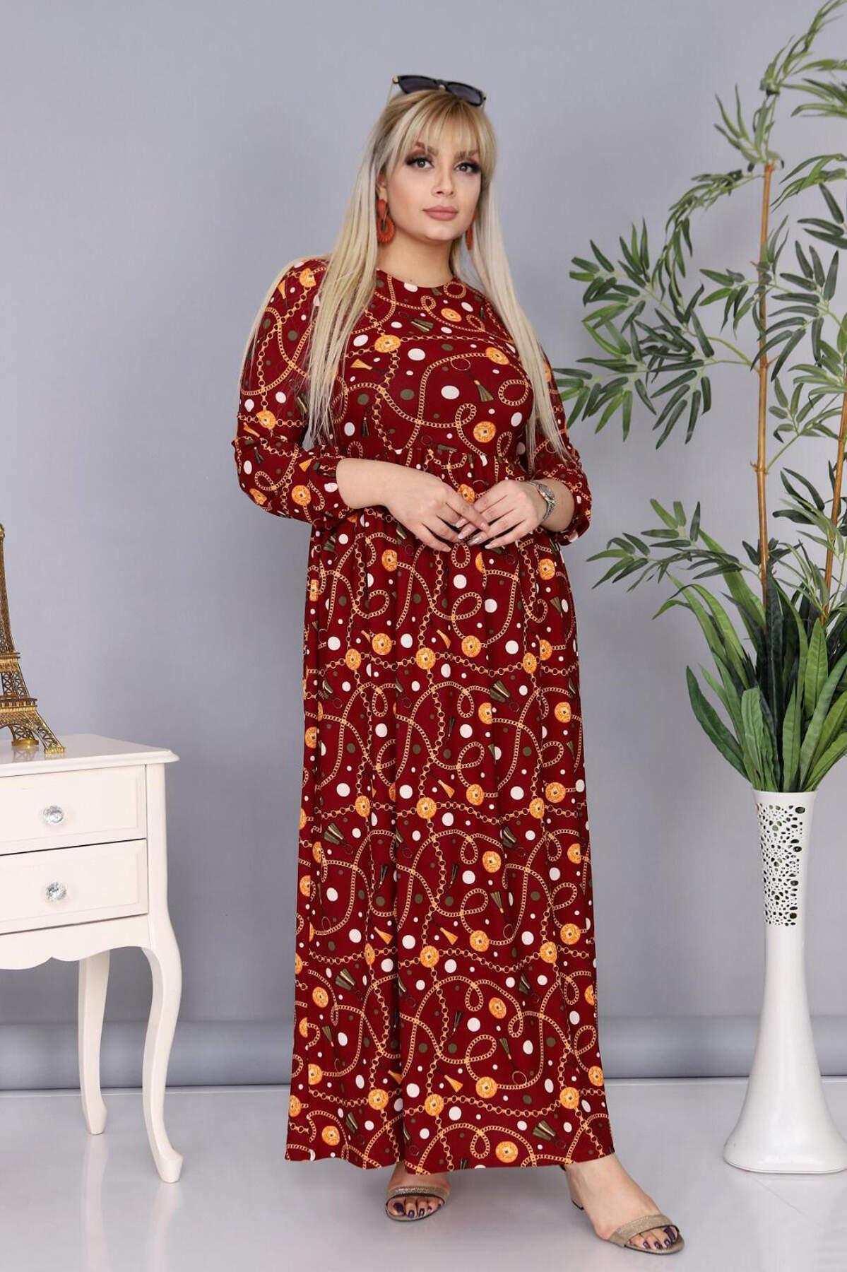 Buyuk Beden Tesettür Örme Krep Uzun Elbise AF8001 Bordo