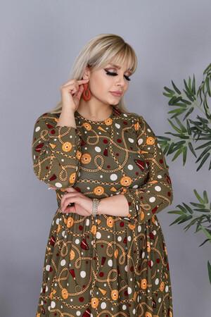 Angelino Fashion - Buyuk Beden Tesettür Örme Krep Uzun Elbise AF8001 Haki (1)