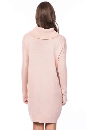 Angelino Style - Büyük Beden Triko Cepli Tunik Elbise VOV824 Pudra (1)