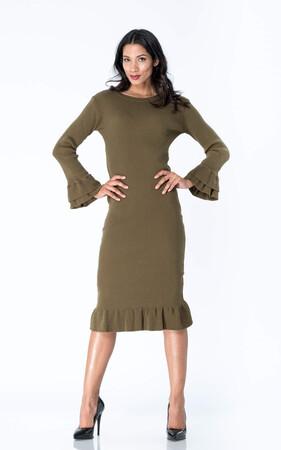 Angelino Style - Büyük Beden Triko Esnek Elbise YM8060 Haki (1)