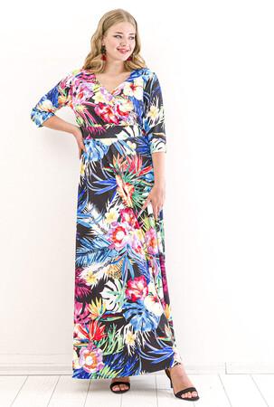 Angelino Butik - Büyük Beden Tropikal Çiçek Desen Uzun Elbise KL8003U (1)