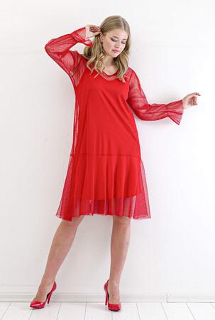 Angelino Butik - Büyük Beden Tül Detay Kısa Abiye Elbise PNR4633 Kırmızı (1)