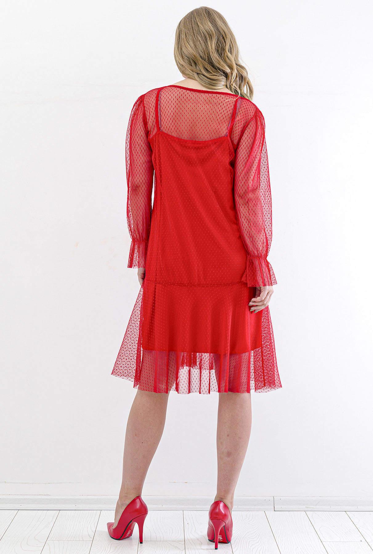 Büyük Beden Tül Detay Kısa Abiye Elbise PNR4633 Kırmızı