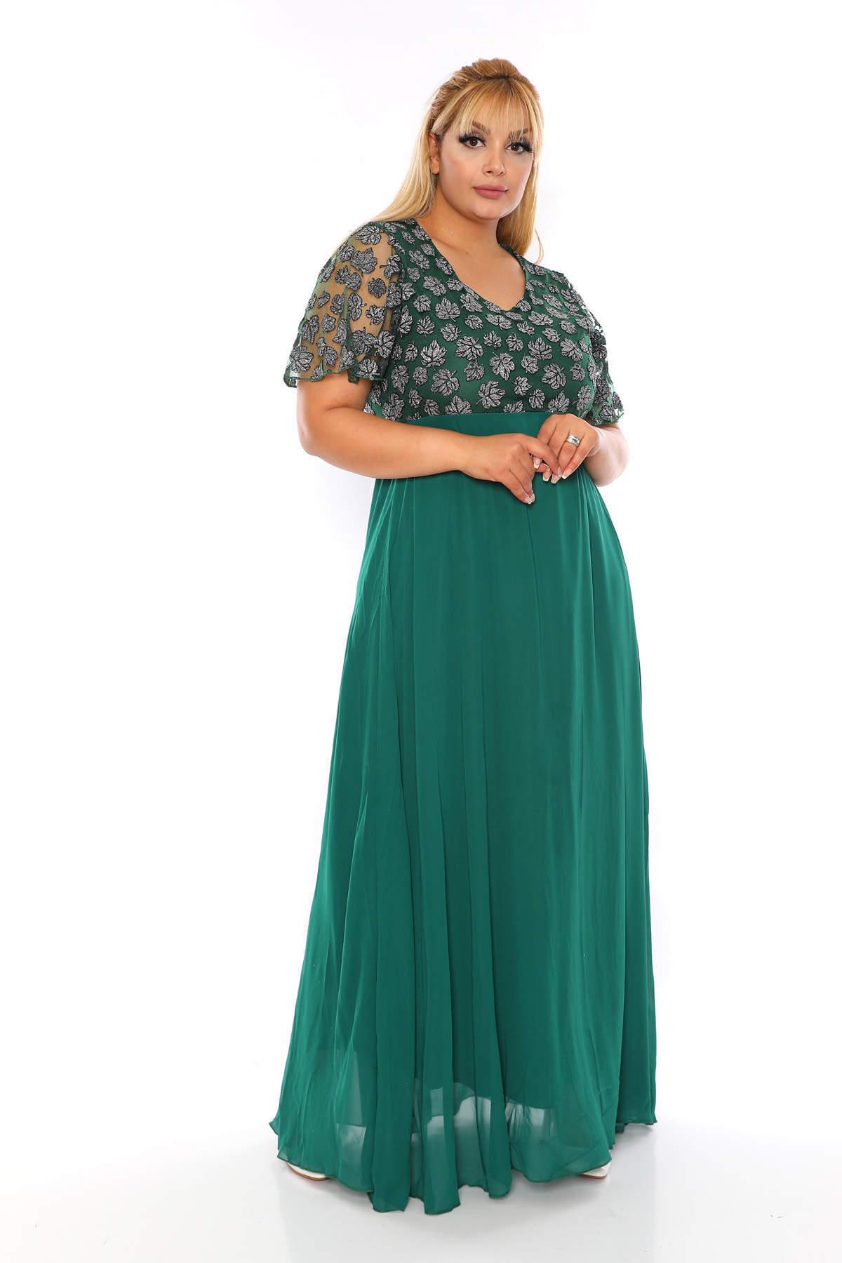 Büyük Beden Üst Simli Yaprak Desen Kol Şifon Atlas Uzun Abiye KL825 Yeşil