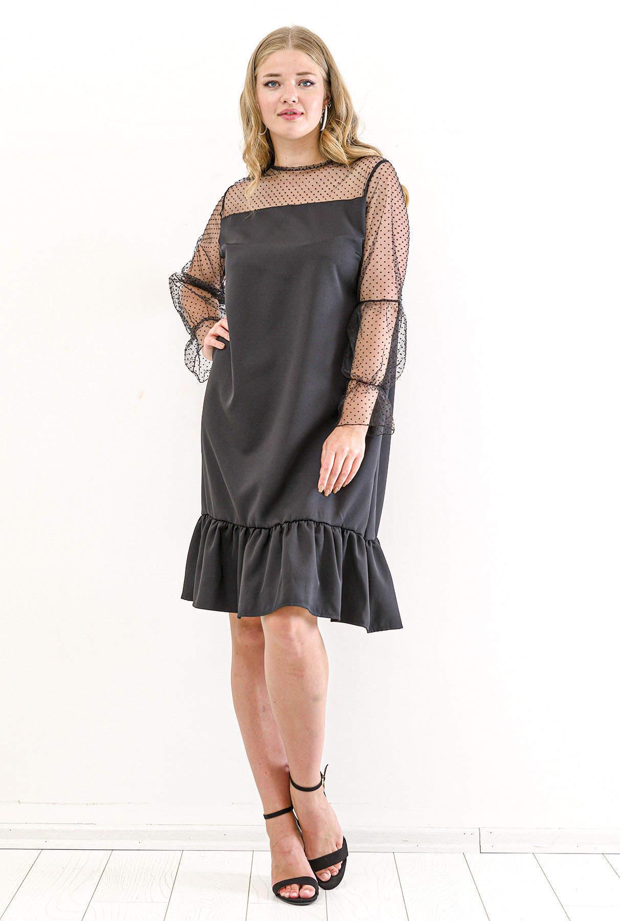 Büyük Beden Üstü Kolu Puantiye Tül Detay Abiye Elbise KL824 Siyah