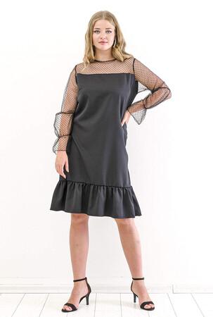 Angelino Butik - Büyük Beden Üstü Kolu Puantiye Tül Detay Abiye Elbise KL824 Siyah (1)