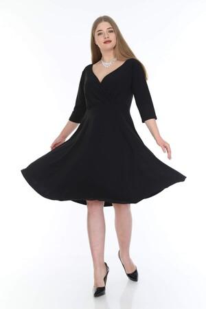 Angelino Butik - Büyük Beden Kısa Abiye Dantelli Elbise KL8002 Siyah (1)