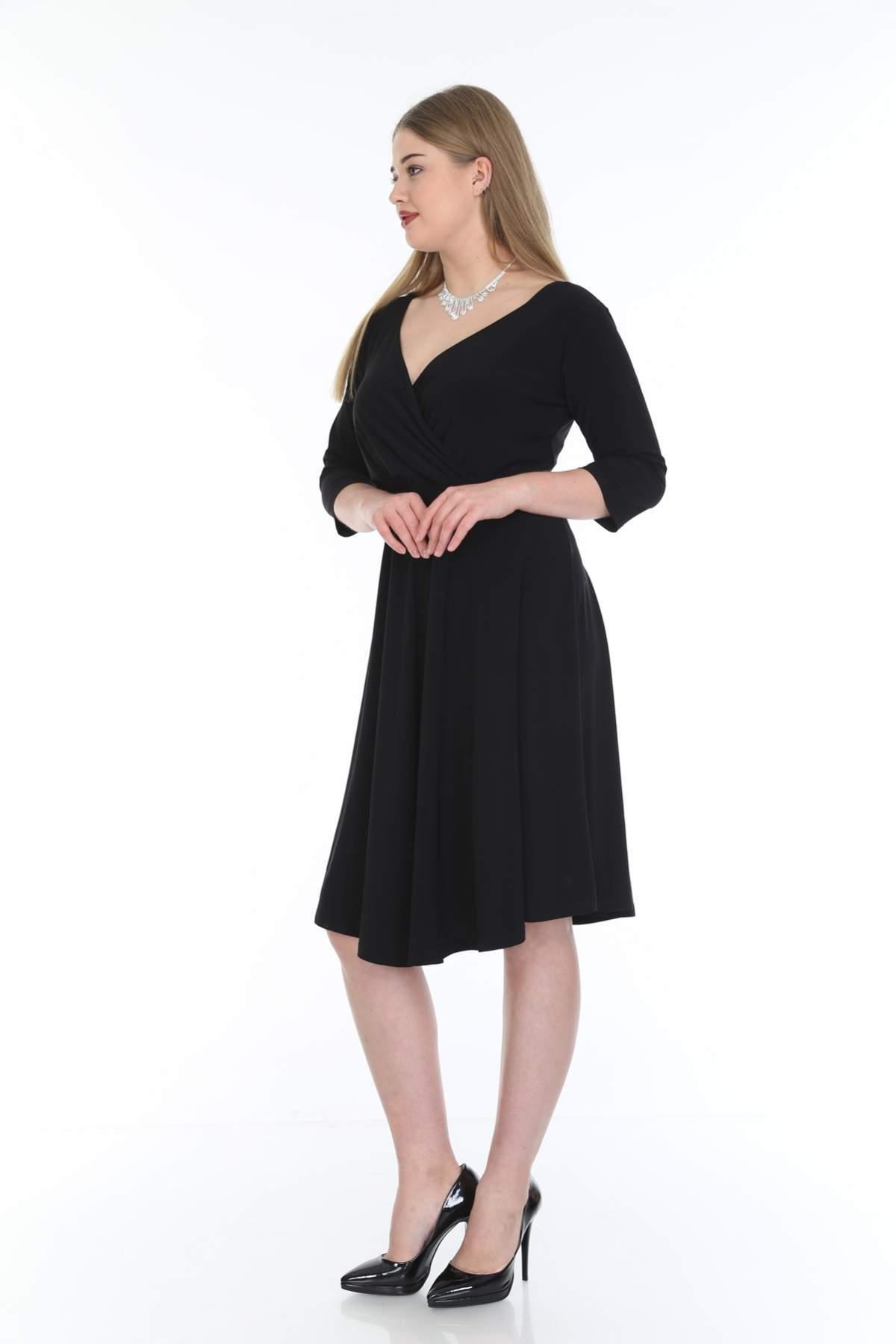 Büyük Beden Kısa Abiye Dantelli Elbise KL8002 Siyah