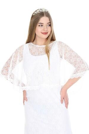 Angelino Butik - Büyük Beden Uzun Abiye Dantelli Elbise PNR037 Beyaz (1)