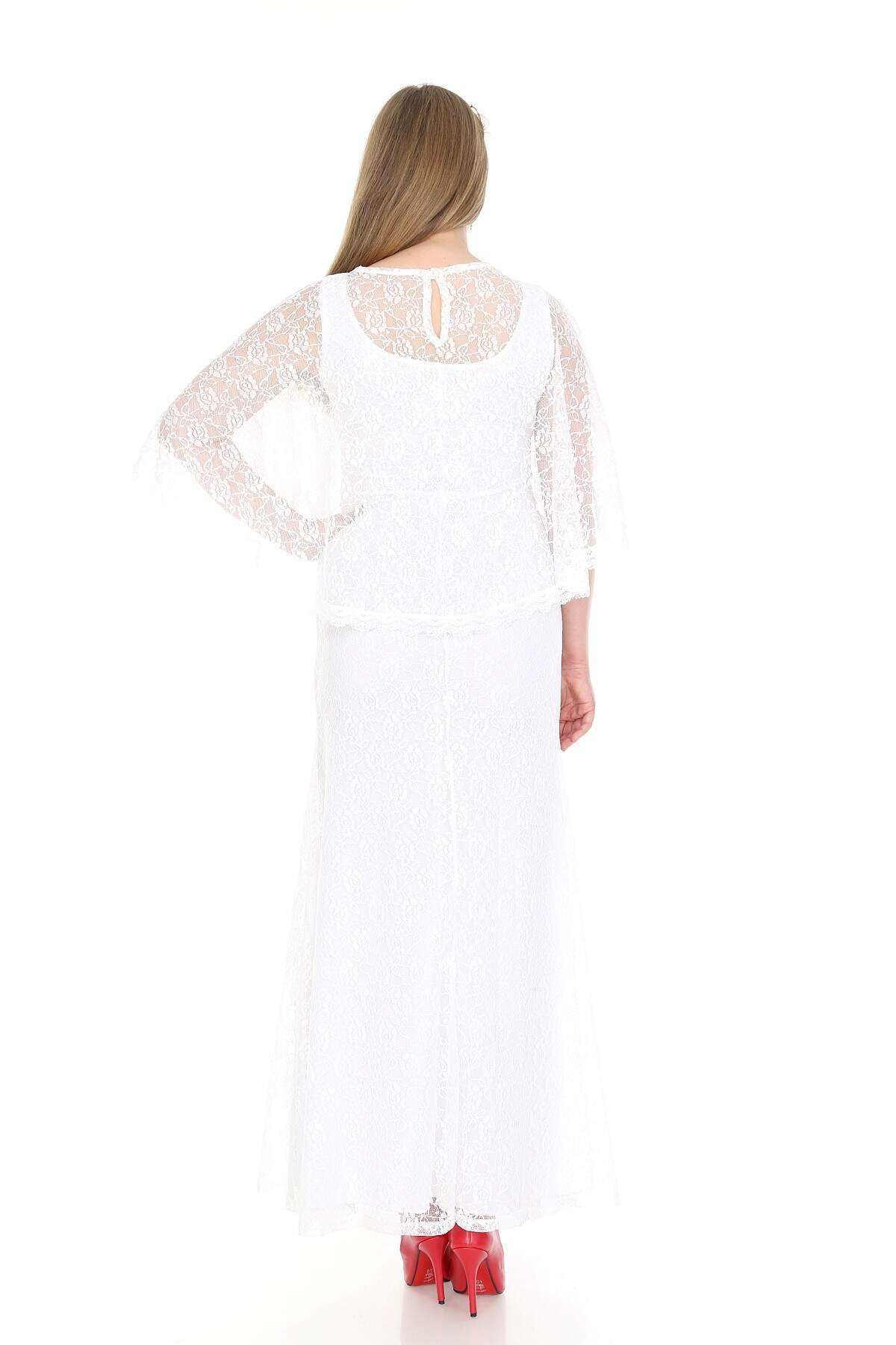 Büyük Beden Uzun Abiye Dantelli Elbise PNR037 Beyaz