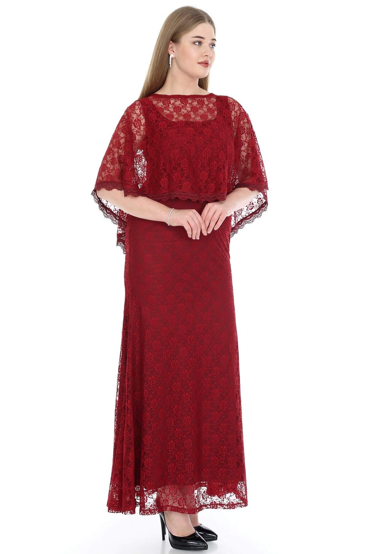 Büyük Beden Uzun Abiye Dantelli Elbise PNR037 Bordo