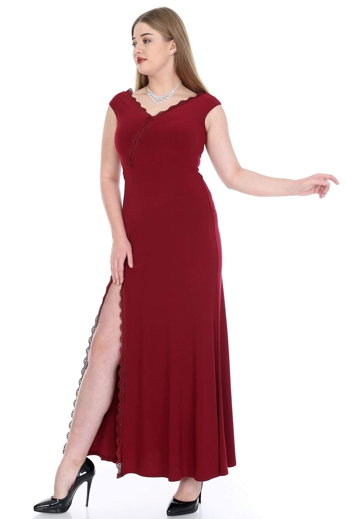 Büyük Beden Uzun Abiye Elbise PNR6007 Bordo