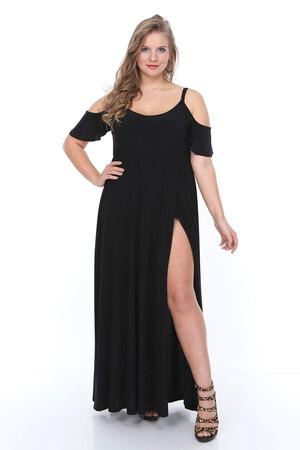 Angelino Butik - Büyük Beden Uzun Askılı Elbise NV4013 (1)