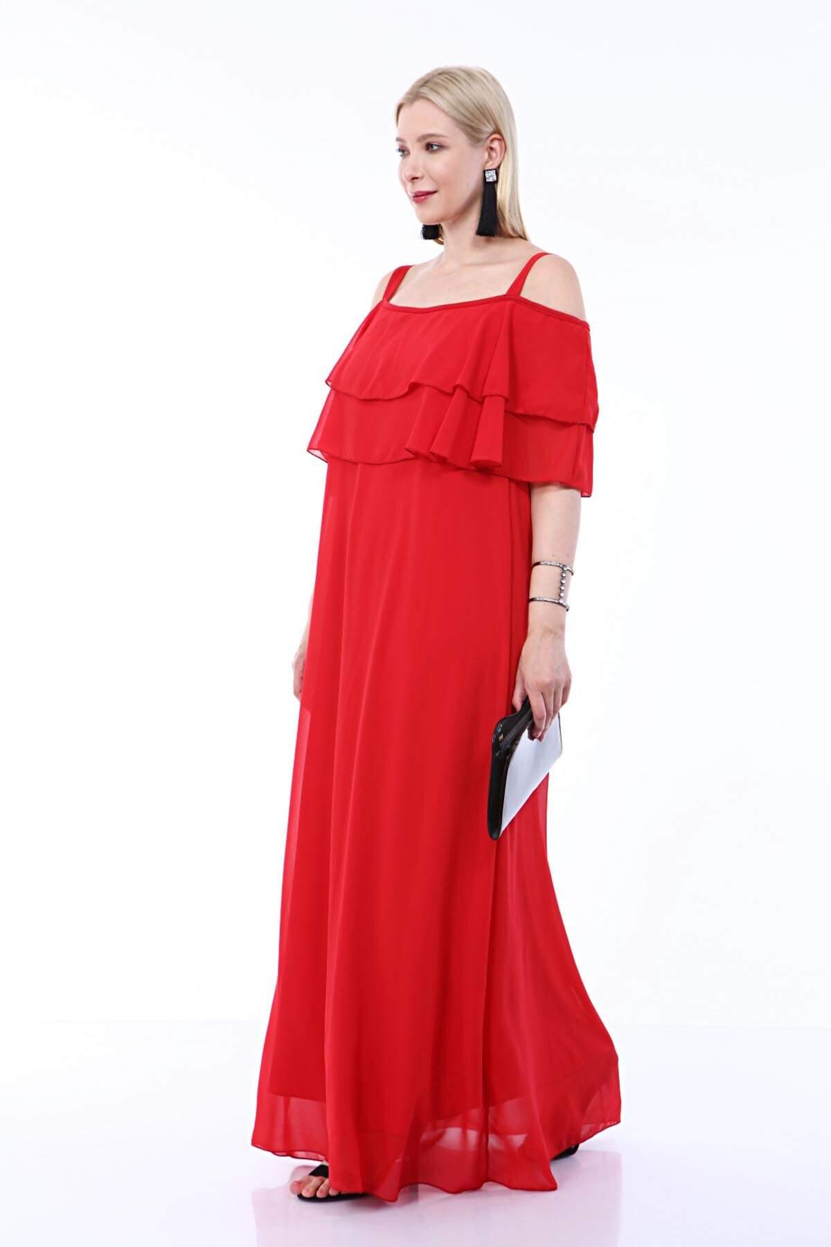 Büyük Beden Uzun Askılı Şifon İki Kat Fırfırlı Abiye Elbise 8009