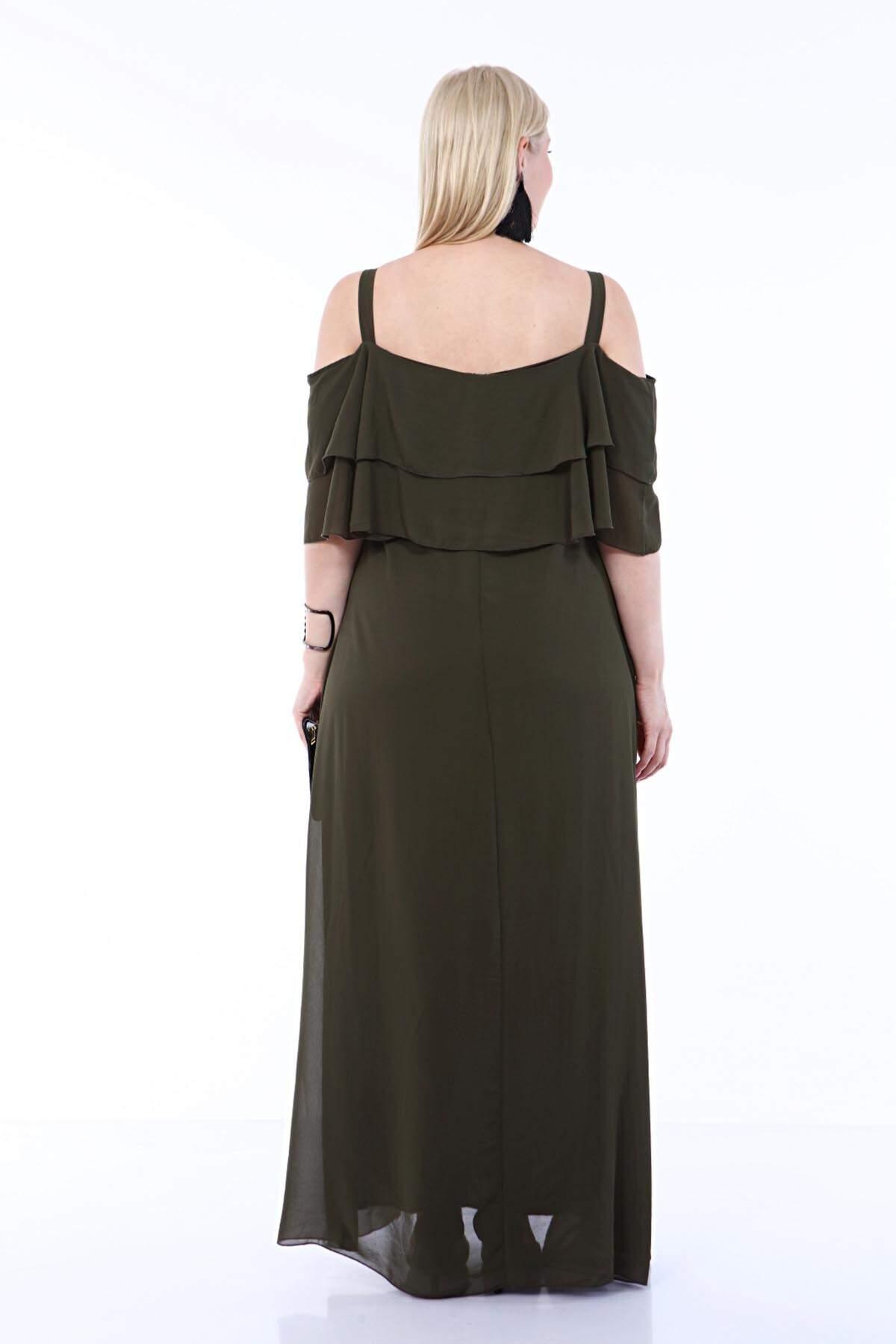 Büyük Beden Uzun Askılı Şifon İki Kat Fırfırlı Haki Şifon Elbise 8009