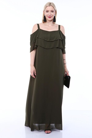 Angelino Butik - Büyük Beden Uzun Askılı Şifon İki Kat Fırfırlı Haki Şifon Elbise 8009 (1)