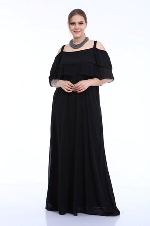 Angelino Butik - Büyük Beden Uzun Askılı Şifon İki Kat Fırfırlı Siyah Abiye Elbise 8009 (1)