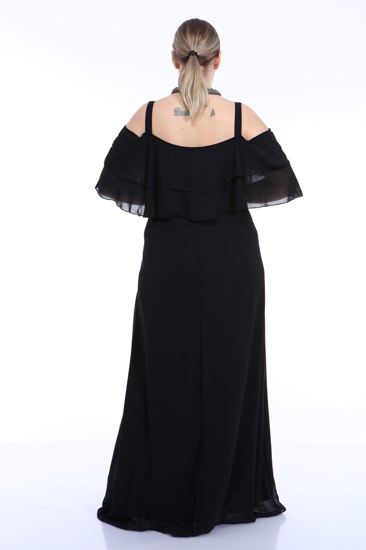 Büyük Beden Uzun Askılı Şifon İki Kat Fırfırlı Siyah Abiye Elbise 8009