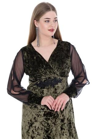 Angelino Butik - Büyük Beden Uzun Kadife Abiye Elbise PNR8007 (1)