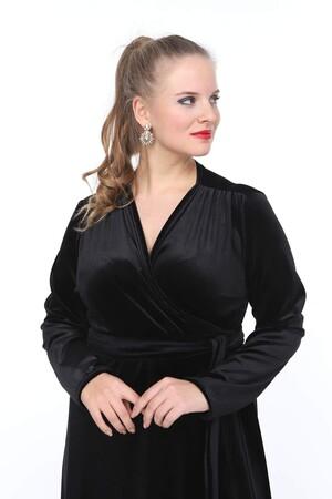 Angelino Butik - Büyük Beden Uzun Kadife Elbise NV3003 (1)