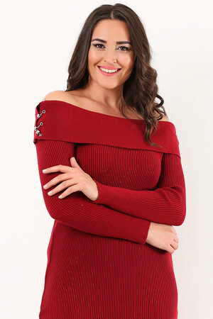 Angelino Style - Büyük Beden Uzun Yırtmaçlı Esnek BORDO Elbise YM8020 - (1)