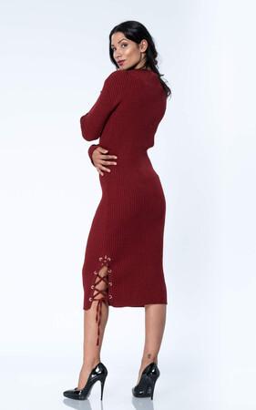 Angelino Style - Büyük Beden Uzun Yırtmaçlı Esnek Bordo Triko Elbise YM8030 (1)