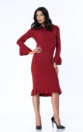Angelino Style - Büyük Beden Uzun Yırtmaçlı Esnek Bordo Triko Esnek Elbise YM8060 (1)