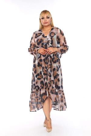 Angelino Butik - Büyük Beden V Fırfırlı Yaka Kol Volanlı Leopar Desen Şifon Elbise KL438 Leopar (1)