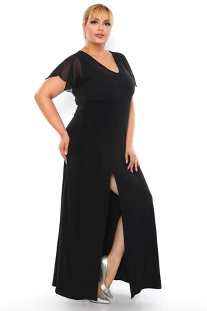 Angelino Butik - Büyük Beden V Yaka Kol Tül Detay Yırtmaçlı Uzun Abiye Elbise PNR6067 Siyah (1)