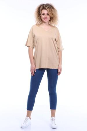 Angelino Butik - Büyük Beden V Yaka Krem T-shirt TC01 (1)
