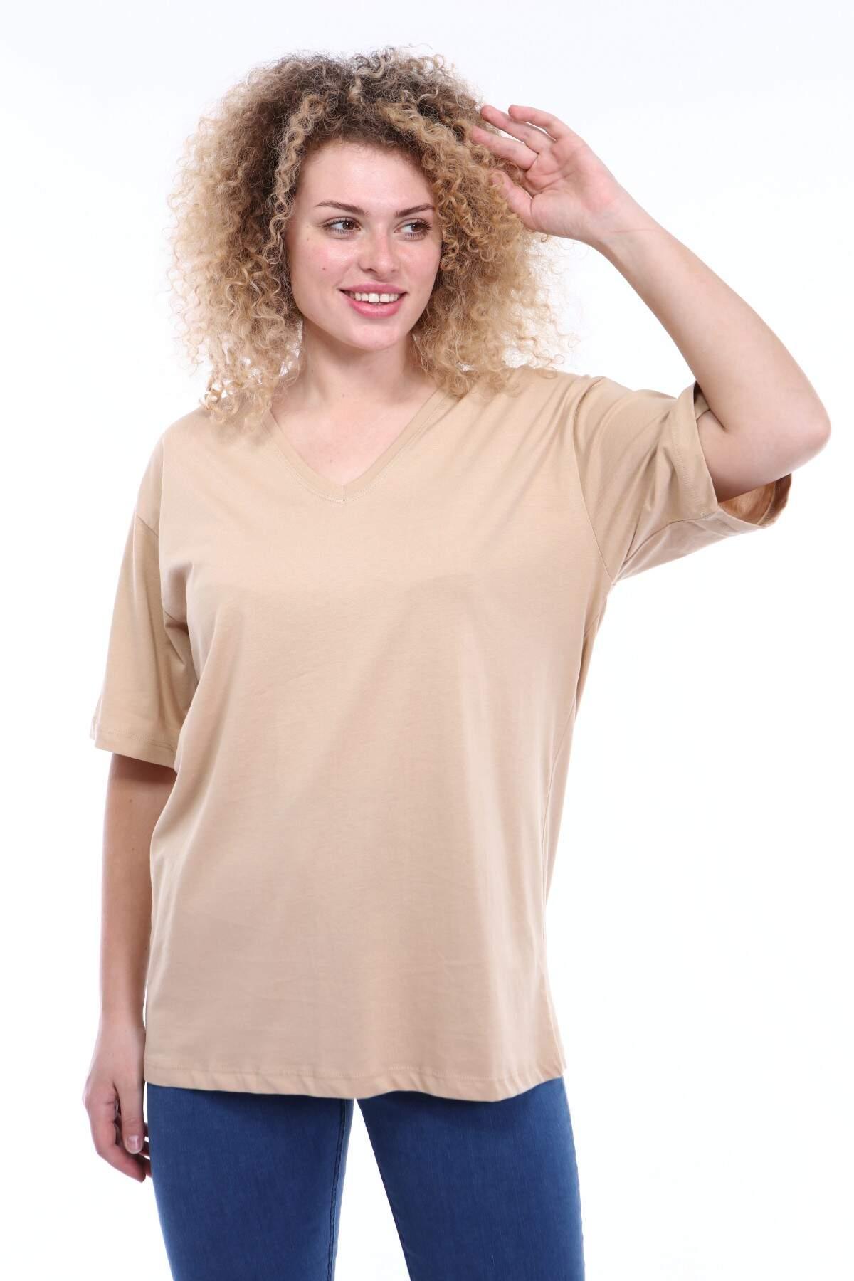 Büyük Beden V Yaka Krem T-shirt TC01